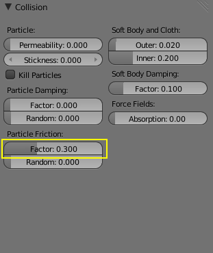 Settings of the collision sphere
