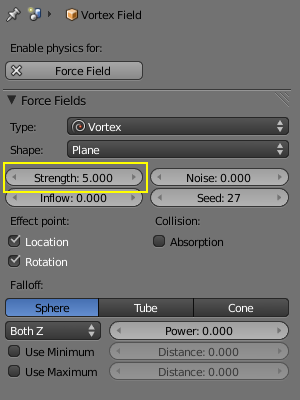 Settings Vortex Force Field