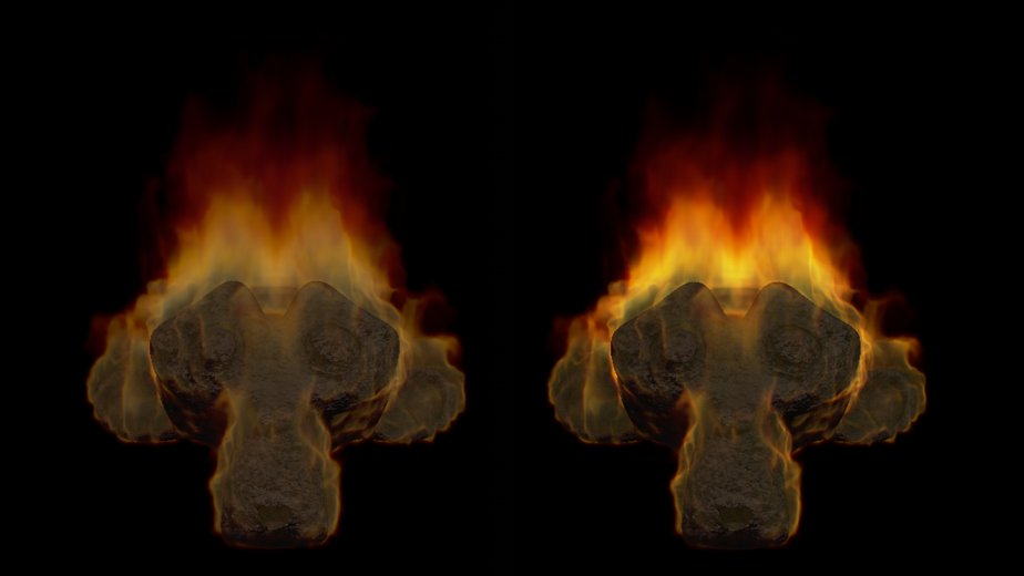 Fire shader without and with compositing